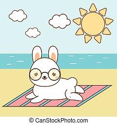 hase, kanninchen, sunbathing., reizend, strand., weißes, seeküste, kawaii, liegen, kaninchen