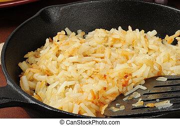 Hash brown potatoes closeup - Close up of hash brown...