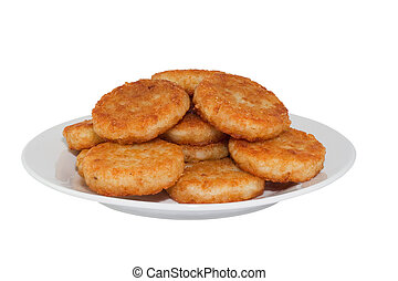 Hash browns on white plate. Image is isolated on white...