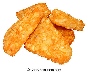 Hash Browns - Pile of cooked potato hash browns isolated on...