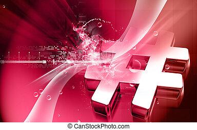 Digital illustration of hash key sign in colour background