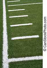 Hash Marks - Sideline and yard markers on an American...