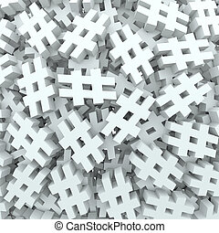 A background of hash tags or pound or number signs to illustrate new social media technology platforms that let you tag posts, updates or messages