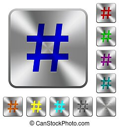 Hash tag rounded square steel buttons