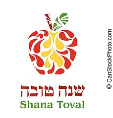 hashana, rosh, cartão cumprimento