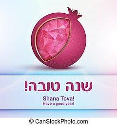 hashana, rosh, judío, -, saludo, año, nuevo, tarjeta