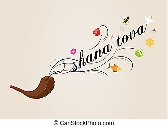 hashana, rosh, -, saludo, ilustración, vector, tarjeta