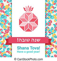 hashana, rosh, tova, -, shana, cartão cumprimento
