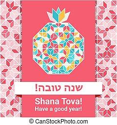 hashana, rosh, tova, -, shana, tarjeta de felicitación