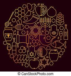 hashanah, concept, rosh, ligne, icône