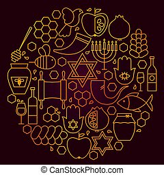 hashanah, pojęcie, rosh, kreska, ikona