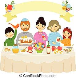 hashanah, rosh, famiglia