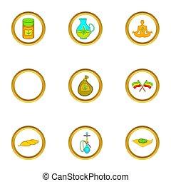 Hashish icon set, cartoon style