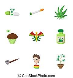 Hashish icons set, cartoon style