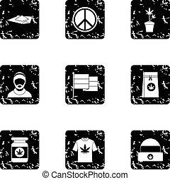 Hashish icons set, grunge style