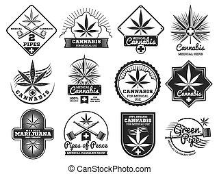 Hashish, rastaman, hemp, cannabis, marijuana vector logos and labels set