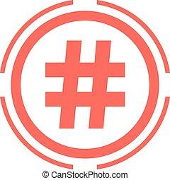 hashtag, ícone, em, vermelho, dobro, círculo
