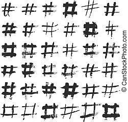 Hashtag and number ink brushed black symbols. Hand drawn hash and pounds vector sign