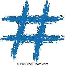 Hashtag Brushed - Hand drawn hashtag symbol.