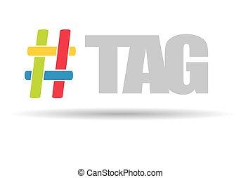 Hashtag, communication sign.