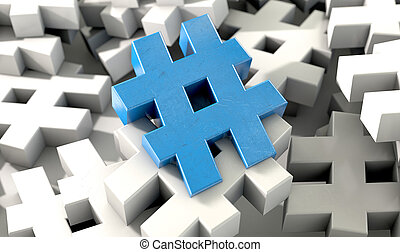 Hashtag Concept - A concept image showing a scattered ...
