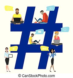 Hashtag concept illustration