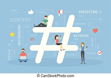 Hashtag concept illustration.