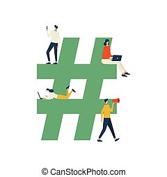 Hashtag concept illustration, man and woman using gadget