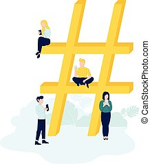 Hashtag concept illustration of people using mobile tablet and smartphone for sending posts and sharing in social media.