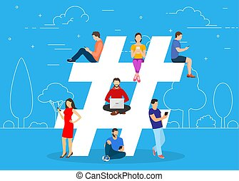 Hashtag concept. people using mobile