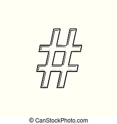 Hashtag hand drawn outline doodle icon.