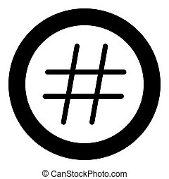 Hashtag icon black color in circle