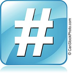 illustration of blue square icon for hashtag