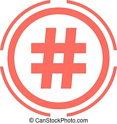hashtag icon in red double circle
