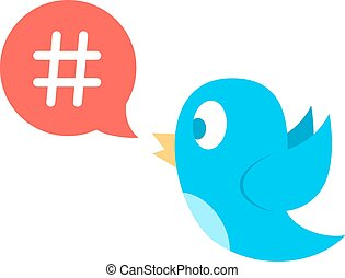 hashtag icon in red speech bubble with blue bird