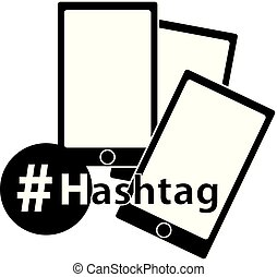 Hashtag icon with mobile phone isolated on white background.