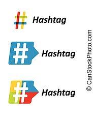hashtag, señal, set., comunicación
