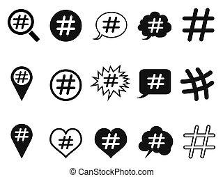 hashtag, set, icone