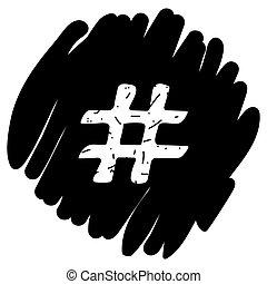 Hashtag sign icon vector illustration on orange background