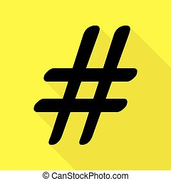 Hashtag sign illustration. Black icon with flat style shadow path on yellow background.