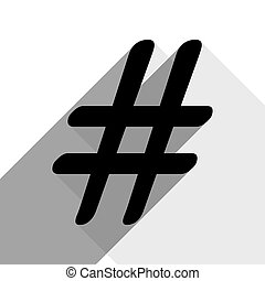 Hashtag sign illustration. Vector. Black icon with two flat gray shadows on white background.