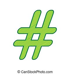 Hashtag sign illustration. Vector. Lemon scribble icon on white background. Isolated