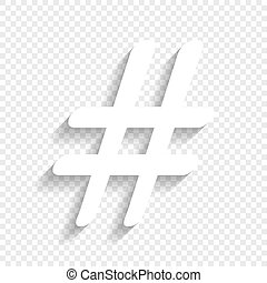 Hashtag sign illustration. Vector. White icon with soft shadow on transparent background.