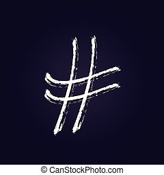 Hashtag sign with abstract composition. Vector illustration.