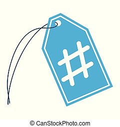 An isolated string tag with a hashtag symbol in the middle.