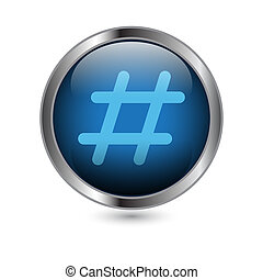 An isolated glossy button with a hashtag symbol inside.