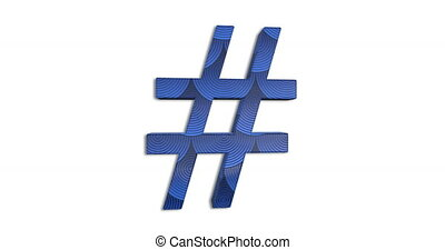 Hashtag Symbol Design Blue Color - Art Hashtag # Sign...
