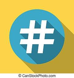hashtag symbol flat design with shadow