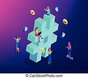 Hashtag tracking isometric 3D concept illustration.