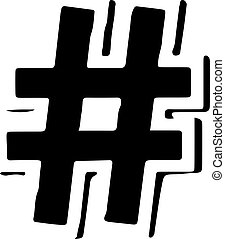 hashtag vector isolated on white background